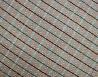 """Check Printed Fabric, Brown Fabric, Dress Material, Sewing Fabric, Home Accessories, 58"""" Inch Cotton Fabric By The Yard ZBC7858A"""