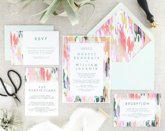 Boho Wedding Invitations Printed - Abstract Art Wedding Invitation Suite - Wedding Invitation Set - Modern Wedding invite - Set of 10