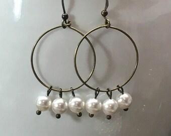 Swarovski pearl hoop earrings