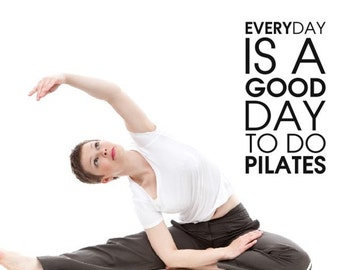 Pilates exercise Workout Motivational Fitness Gym Life workout  Quote wall vinyl decals stickers DIY Art Decor Bedroom Home Happiness