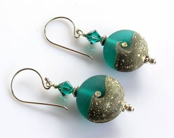 Teal Glass Earrings, Green Ivory Lampwork Earrings, Etched Galss Earrings