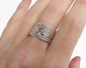 Sterling Silver Stacking Ring Set - Hammered Silver Rings for Women - Bohemian Rings Twist Thin Silver Ring - Minimalist Rings