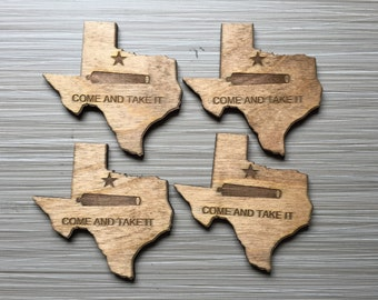 Texas Come and Take It Wood Coasters