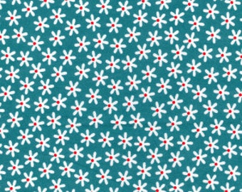 Duck Egg Blue Daisies Cotton Poplin Print