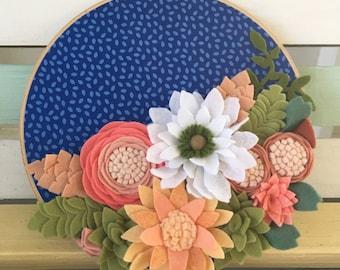 "Felt flower embroidery hoop 9"""