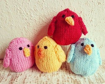 New Handmade Knitted Bird Red Yellow Blue Pink Bright Catnip Pouch Stuffed Acrylic Cat Toys Pet Toys Pet Accessories Catnip Birds