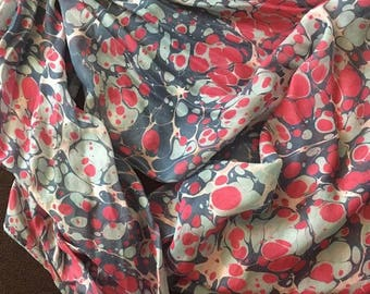 Hand-made  Marbled Silk Scarf