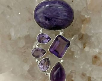 Charoite and Amethyst Pendant Necklace