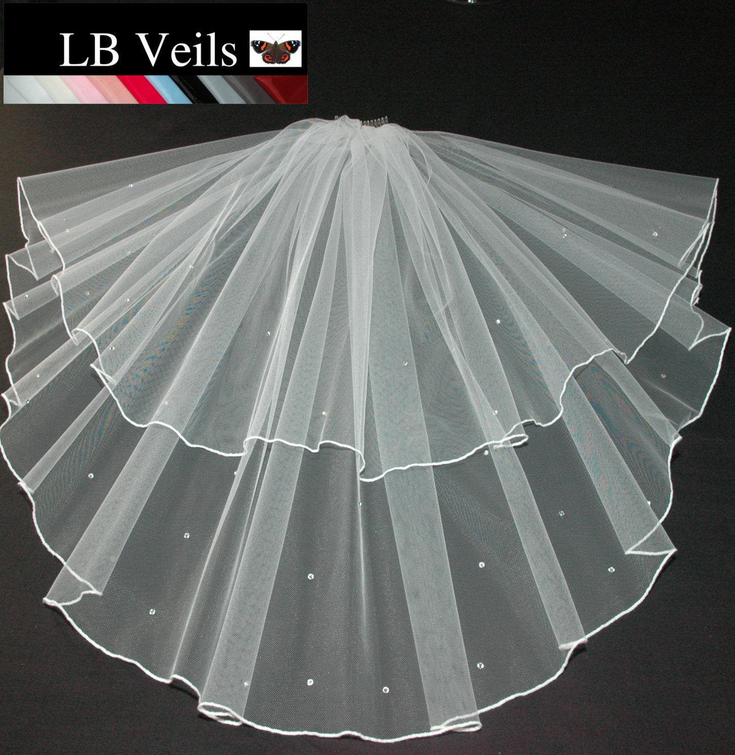 Ivory Wedding Veil Crystal Diamante Edge Any Length Or Colour LBV145 LB Veils UK