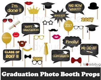 Graduation photo props. Printable. DIY 2017 Grad selfie station props. Instant download. PDF Digital file. Graduation photo booth props.