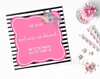 Black and White Stripes with Pink and floral Save the date card, Floral and Stripes Printable Save the date card.