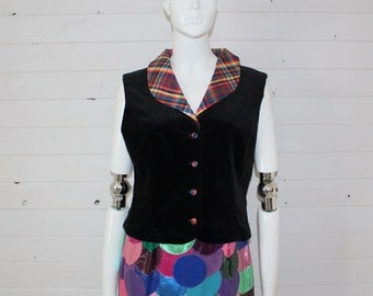 Vintage Women's Velvet Vest with Liner Plaid Collar and Buttons Size  Medium
