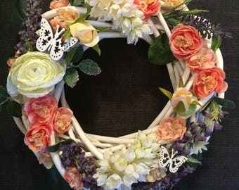 Floral Wreath with Butterfly Embellishments