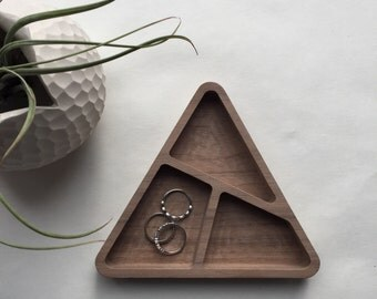 Triangle walnut wood catchall, wood desk organizer, wood jewelry dish, gift for her, office
