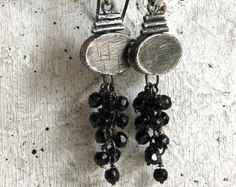 SALE 20% off !!- use the coupon code: SALE20 spinel silver earrings, cluster silver earrings, black stone earrings