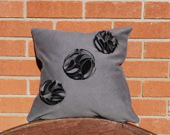 Origami Inspired Grey Cushion with Circular 3D Applique Detail