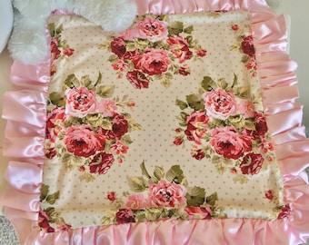 Rambling Roses Travel Lovey, Baby Pink Baby Lovey, Travel Blanket, Night Night Blankets, Take to Grandma Blankets, Silky Satin