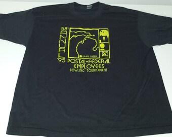 Vintage 90s 1995 58th Annual Postal Federal Employees Bowling Tournament Graphic  tshirt size XXL