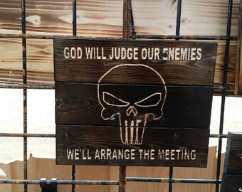 Carved Mini Pallet Punisher Skull Only God Will Judge Our Enemies FREE SHIPPING in the USA