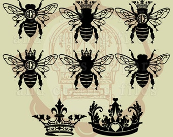 Queen bee svg, Crown svg, Bee svg, Queen Bee, Crown Monogram, Clipart, T Shirt, Overlay, Silhouette, Cut File, ai,eps, png, dxf, svg