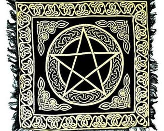 Beautiful Black and Gold Pentacle / Triple moon Altar Cloths (your choice)