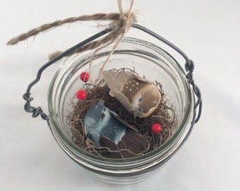Mason Jar - Birds Nesting Ornament
