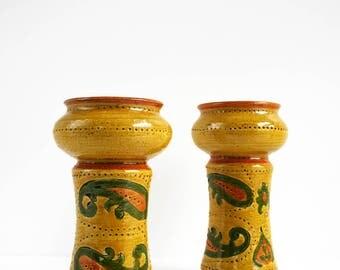 Aldo Londi Bitossi Ceramic Paisley Candleholder Rosenthal Netter Italy Raymor Pair
