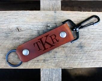 Genuine Leather Keychain, Personalized Keychain, Custom Keychain, Engraved Keychain, Clasp Keychain --CLASP-DB-TKR