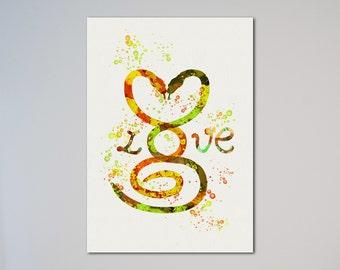 Snakes Love Poster Watercolor Print Valentine's Day Gift Poster Gift Illustration Art Watercolor Snakes In Love Black Humor Dark Comedy