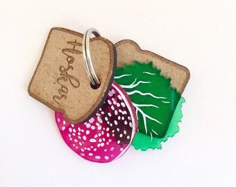 Sandwich custom dog tag - Slice of bread, salami and lettuce - wood and plexiglass - Custom Pet ID Tags Laser Cut dog Tag