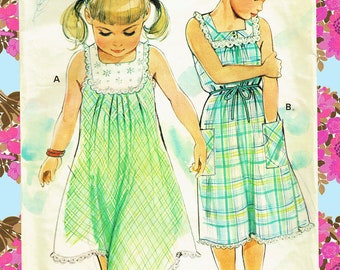 Vintage Girls Marie Claire 'PATRON DE PARIS' 10690 Dresses Sewing Pattern, 'Frilly & Ruffles' Yoke Empire Ethereal Pinafore Baby Doll Summer
