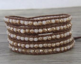 Glass Crystal bead bracelet facted crystal wrap bracelet Yoga bead leather bracelet leather wrap bracelet Boho bracelet bead Jewelry SL-0446