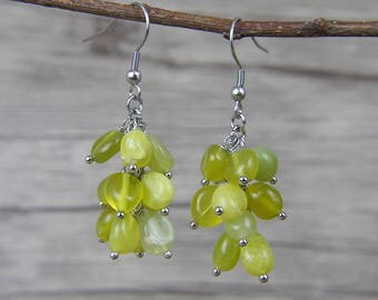 Drop earrings Natural Stone earrings Lemon Beads Earrings Yellow Beads Earrings Boho Beads Earrings ED-033