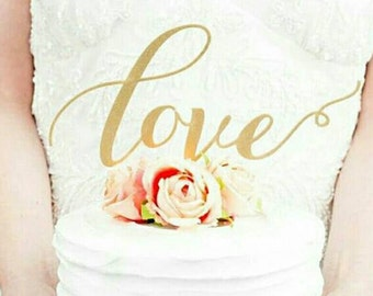 "Gold Glitter Calligraphy ""Love"" Cake Topper - Great for Wedding, Valentines Day ,Birthday Party, Baby Shower, Anniversary Cake Decorations"