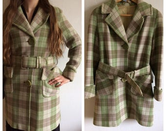 Vintage 1960s green checkered coat