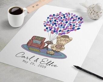 Up Wedding Guest Book: Up Chairs fingerprint guest book, fingerprint tree, thumbprint tree, Custom Disney Pixar guestbook alternative