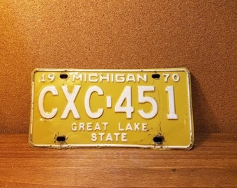 Vintage Michigan License Plate 1970 yellow and white