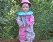 "18"" clown doll costume, pastel stripe/pink&gray diamond clown suit, matching clown shoes and clown hat with pom poms, lined guaze collar"