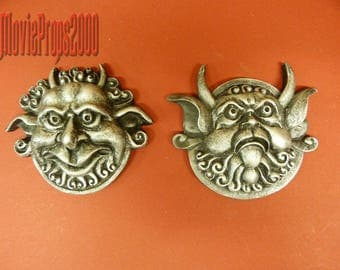 Labyrinth Mouth Holding And Deaf Door Knocker Faces (Set Of Two) From Jim Henson's Labyrinth.Silver