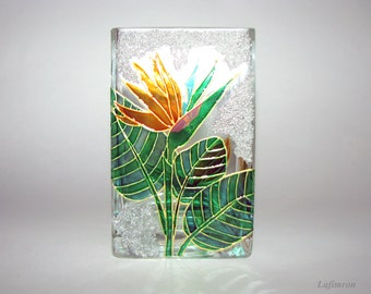 Her gift For women Flower decor Candle holder Orange and green Glass vase with flowers Tropical decor African decor Birds of paradise Flower