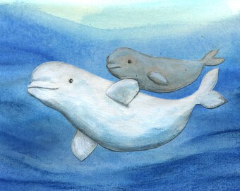 Baby Mama beluga watercolor poster