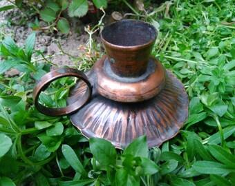 Vintage Copper Candlestick / Copper Candleholder / Vintage Candle Holder / Primitive Candlestick / Rusty Home Decor / Antique Candle Holder