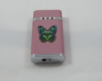 Vintage Butane Lighter with Lighted Butterfly