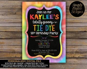 Tie Dye Birthday Party Invitation