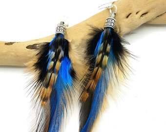 SORA - Ethnic Feather - blue feather feathers earrings turquoise and Brown