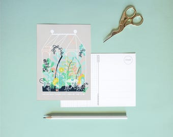 Postcard - Greenhouse with flamingo  | Cheerfully illustrated