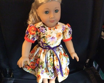 """18"""" Doll Dress, For Girls 8 and Up, Doll Clothes, Doll Dress, Birthday, Christmas, Cotton, Professionally Handmade, DebbieD3dDesigns"""