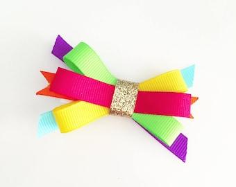 Rainbow Hair Bow | stacked mini rainbow hair bow, rainbow hair clip, rainbow baby hair bow, rainbow baby hair clip, small rainbow hair bow