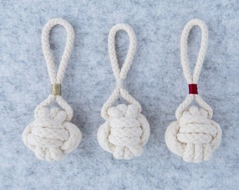 3 for 25. Christmas Tree Ornament - Rope Monkey Fist Knot Christmas Decoration
