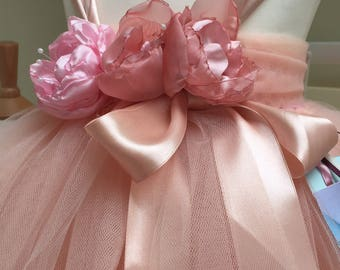 Perfectly peach tulle tutu dress  with handmade chiffon cabbage roses and satin ribbons